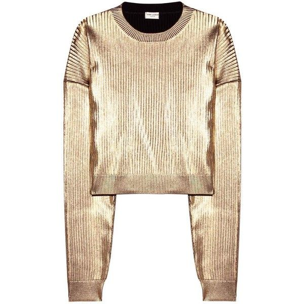 Saint Laurent Metallic Sweatshirt (€310) ❤ liked on Polyvore featuring tops, hoodies, sweatshirts, sweaters, sweatshirt, shirts, gold, metallic shirt, metallic top and gold shirt