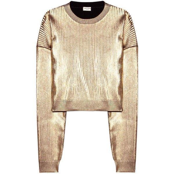 Saint Laurent Metallic Sweatshirt found on Polyvore featuring tops, hoodies, sweatshirts, sweaters, gold, cut-out crop tops, crop top, gold top, gold crop top and beige sweatshirt