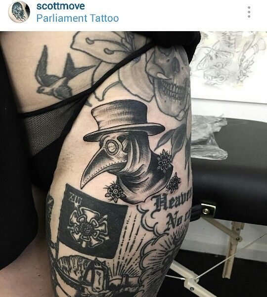Black and gray plague doctor tattoo by @scottmove