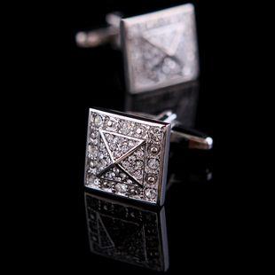 Silver Crystal Inlay Cufflinks