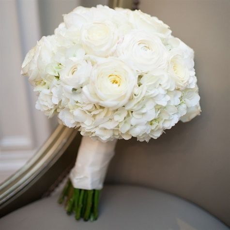these types of flowers but with some ivory and pink too ivory bridal bouquet ranunculus hydrangeas and roses