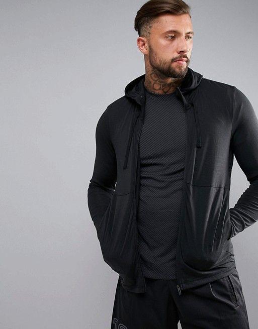 adidas Training Work Out Full Zip Hoodie In Black CD8839