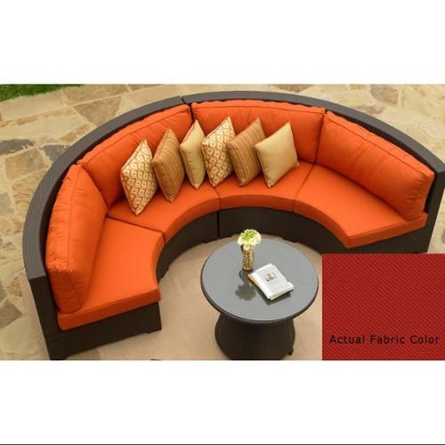 4 Piece Resin Wicker Malibu Curved Sectional Sofa With Ruby Red Cushions Patio Furniture