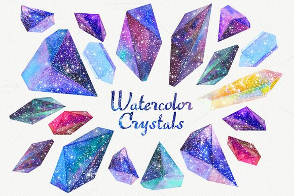 Watercolor crystals with universe by librebird on Creative Market