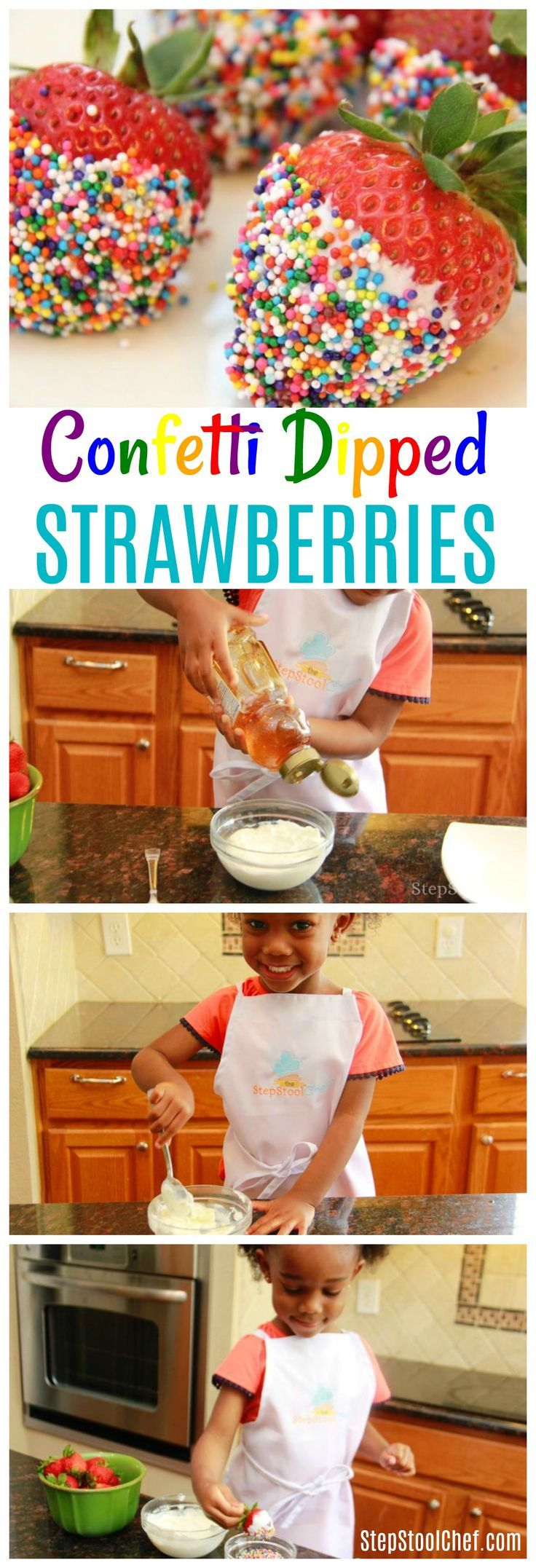 Confetti Dipped Strawberries: Fun & Easy Recipe for Kids to Make | The Step Stool Chef