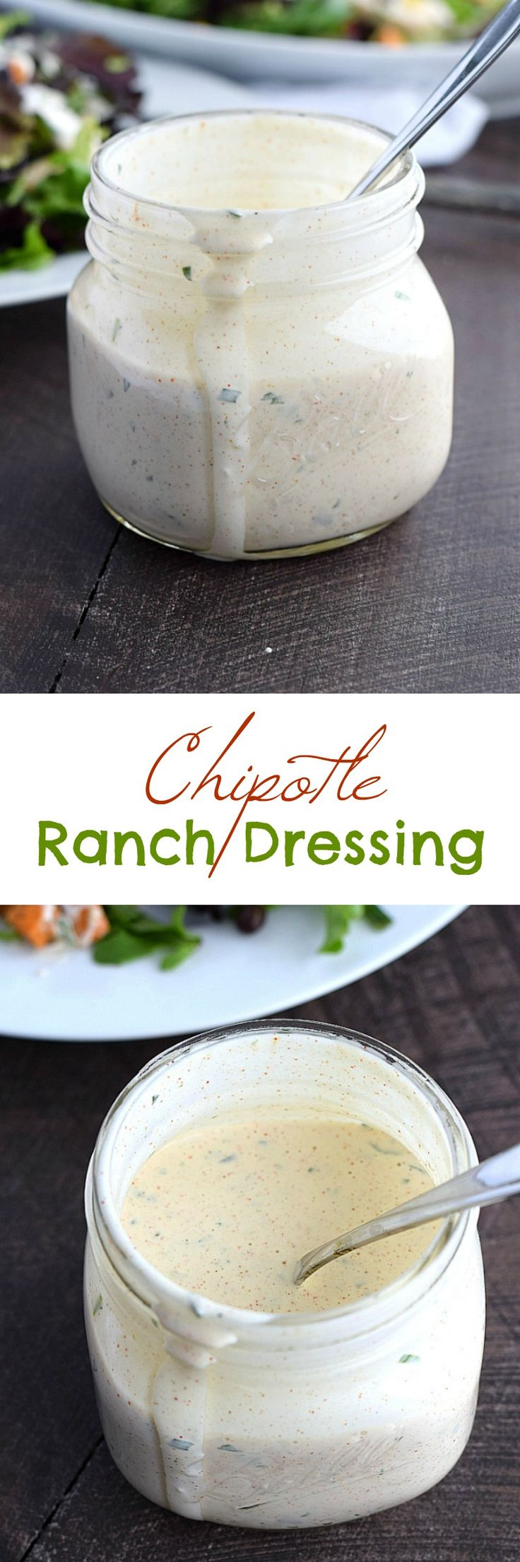 Make your salad come alive with this creamy and delicious Chipotle Ranch Dressing with instructions for dairy-free included | cookingwithcurls.com