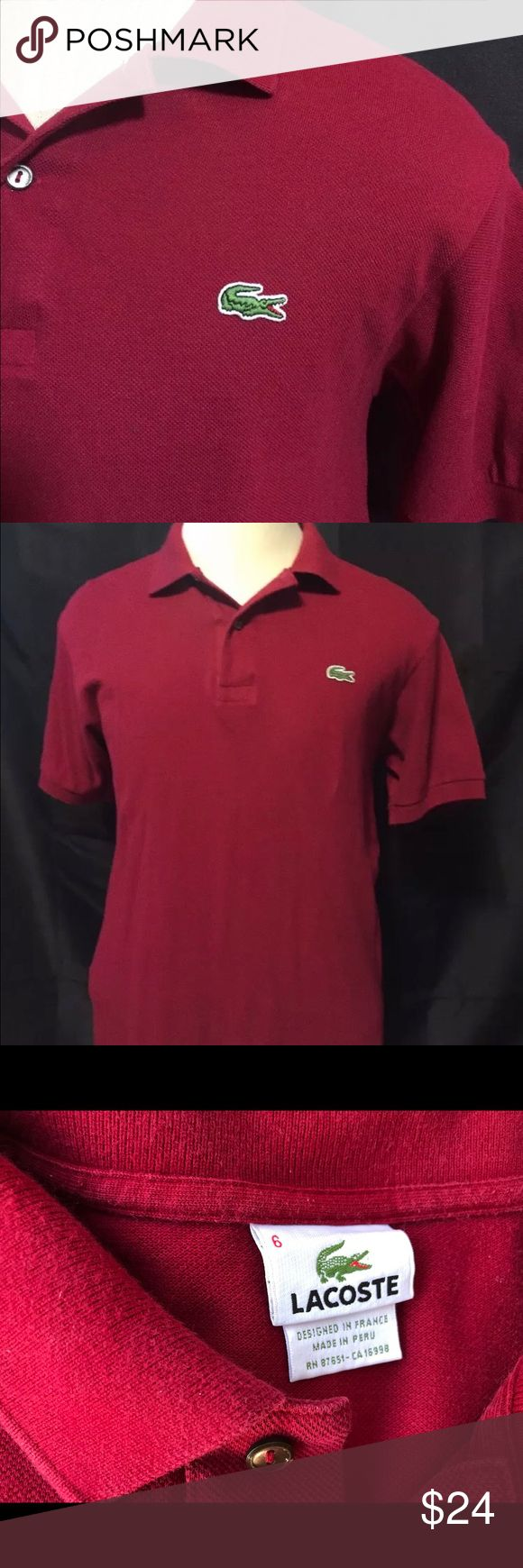 Lacoste Polo Shirt Size 6 Lacoste classic pisque Polo size 6 regular fit designed in France made in Peru . preowned but in good condition Lacoste Shirts Polos