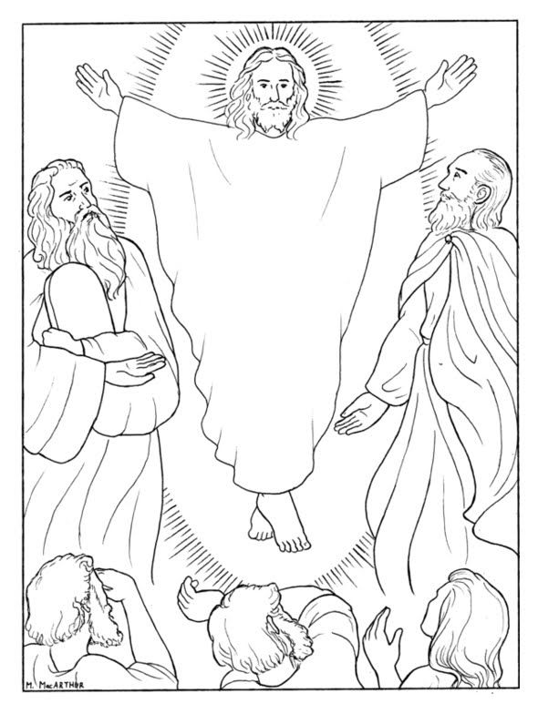 "Luke 9 on the Second Sunday of Lent. Coloring idea for the Transfiguration. ""While he was praying his face changed in appearance   and his clothing became dazzling white."""