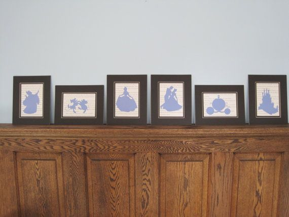 Cinderella Silhouettes on Storybook Paper  Set of 6 by MonkeyCs, $42.00