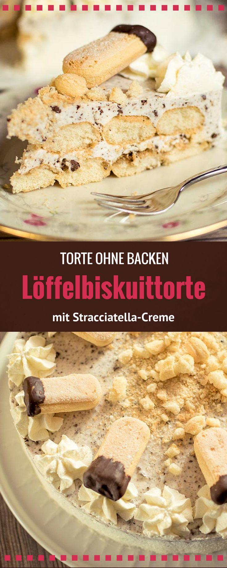 Leckere Löffelbiskuittorte mit einer leckeren Stracciatella Creme - ganz ohne Backen und für Anfänger geeignet.