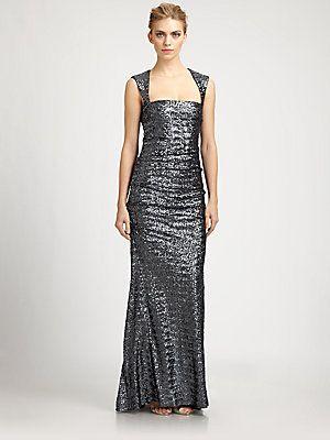 Nicole Miller Sequined Felicity Gown