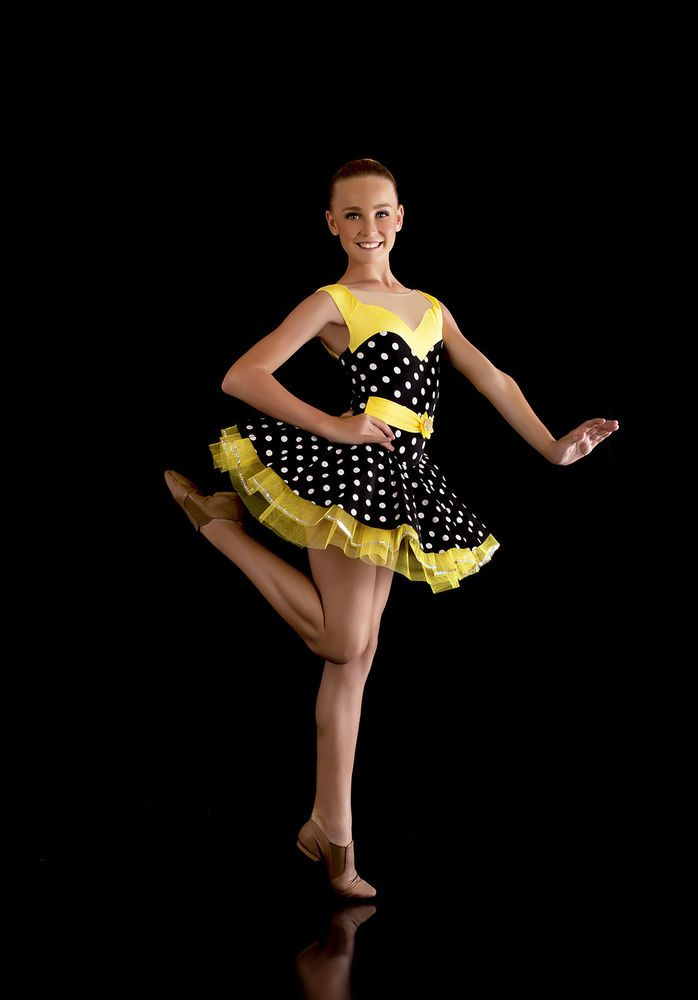 Classic Polka Dot Costume. Yellow. Jazz/Tap. Lots Dance Costumes