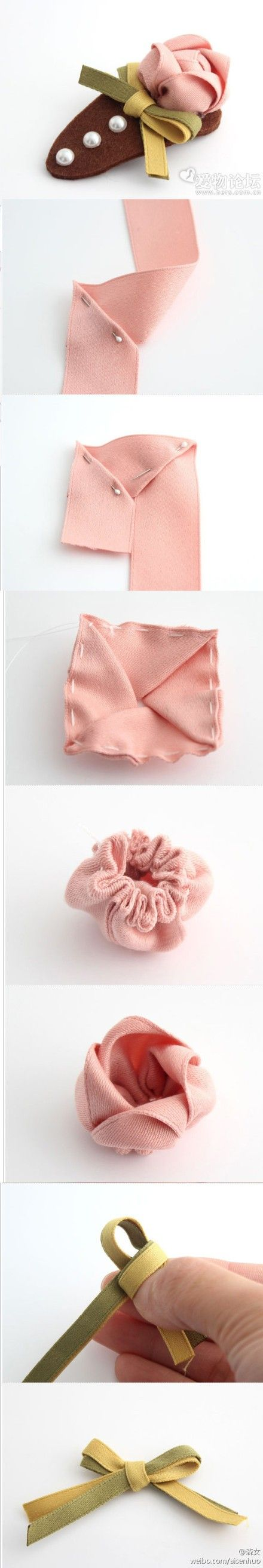 DIY Ribbon Flower Hair Clip
