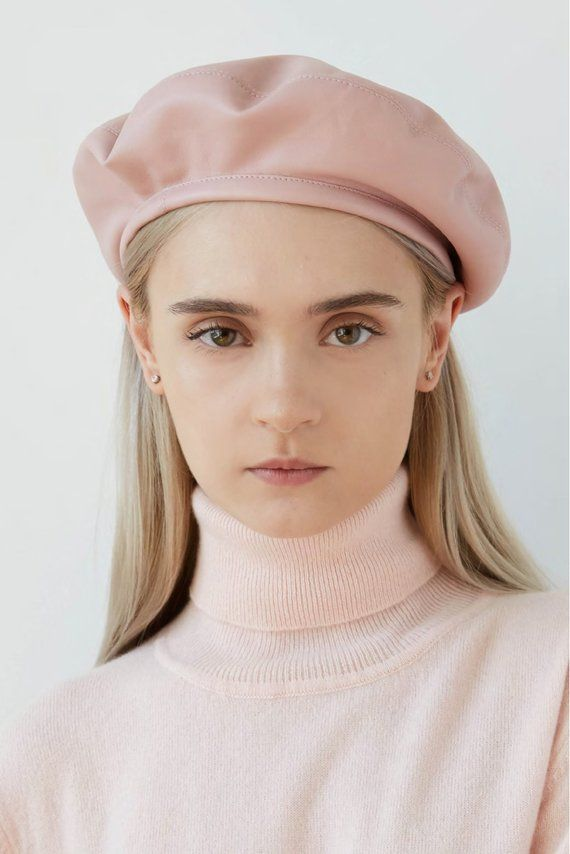 ff9dfe9aa08f6 CANDY Blush pink eco leather beret