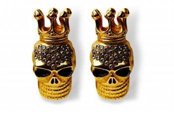 Striking and rebellious gilded crowned skulls with 26 Swarovski crystals of highest quality.  http://mysfashion.com/