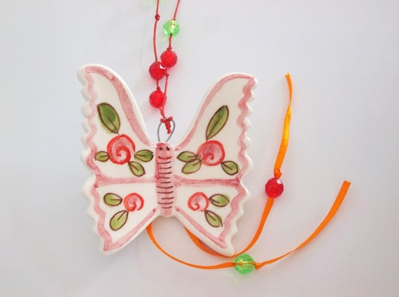 Sweet rose pink ceramic butterfly  home by IoannasVeryCHic on Etsy, $15.00