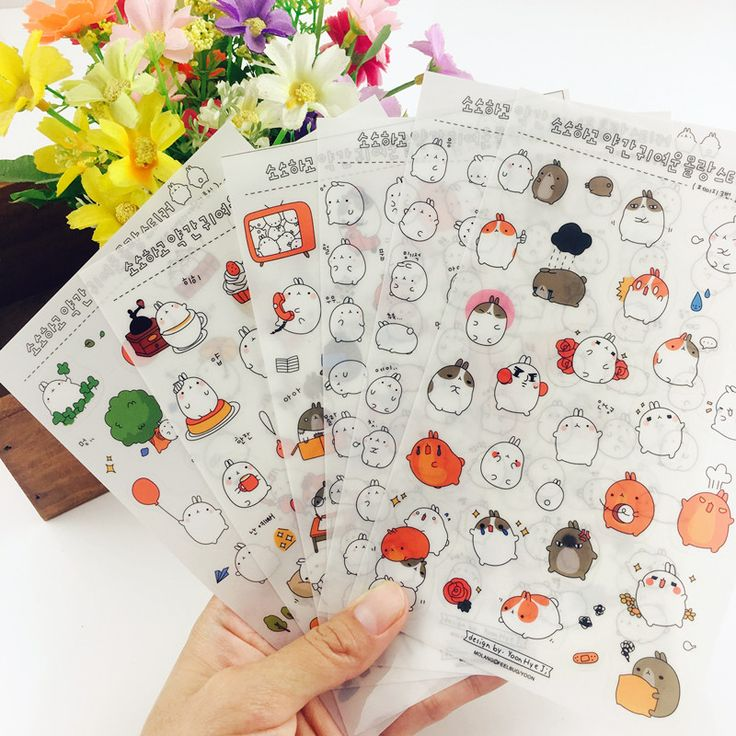 6 sheets Creative Cartoon rabbit Paper daily Stickers DIY personalized photo album diary cool kids scrapbooking stickers animals