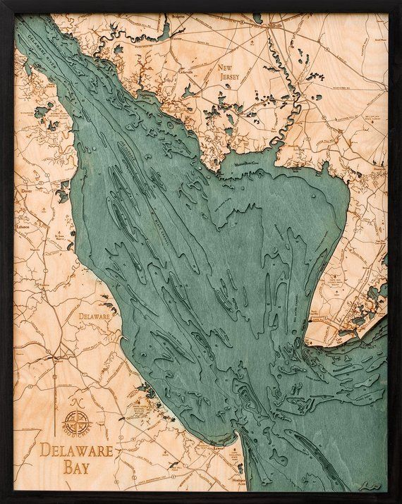 map of delaware bay Delaware Bay Wood Carved Topographic Depth Chart Map Etsy In map of delaware bay