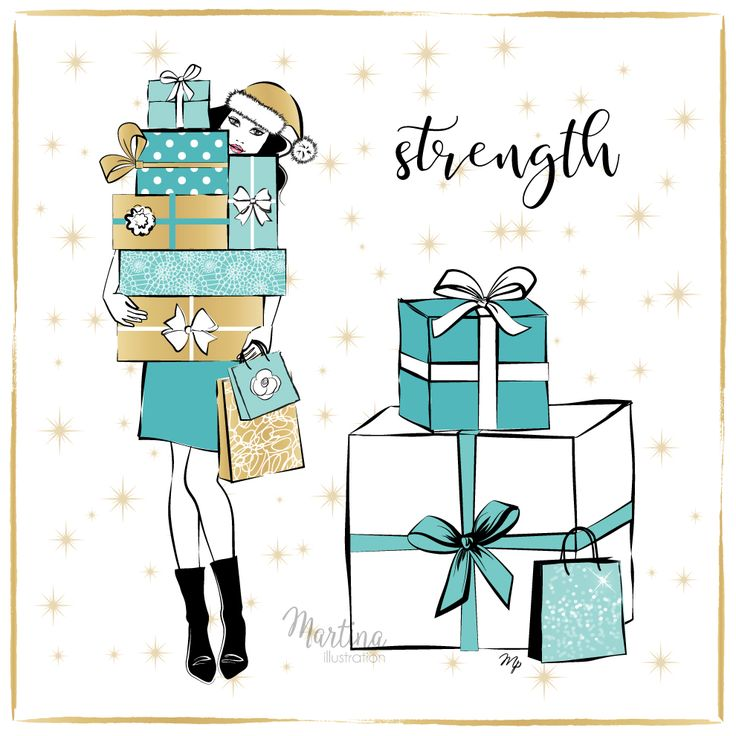 Stylish Advent Calendar DAY 6   I wish you STRENGTH!  Sometimes we may feel like giving up. But the truth is that when we think that we can't go any further, and we keep going anyway, our strength grows. So smile and let everyone know that today you are a lot stronger than you were yesterday   (somebody has to carry those Xmas presents anyway  )  Christmas presents fashion illustration by Martina