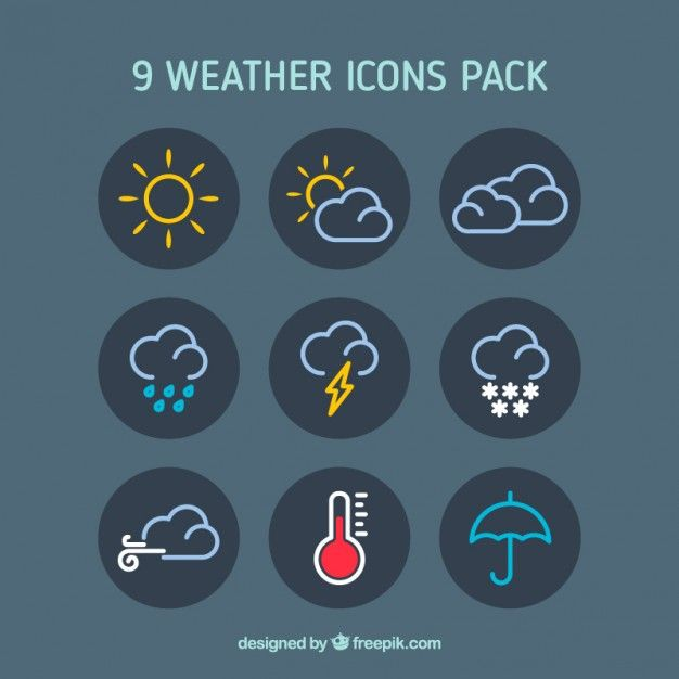 Weather icons pack Free Vector