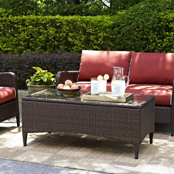 Attractive Kiawah Outdoor Wicker Glass Top Table By Crosley