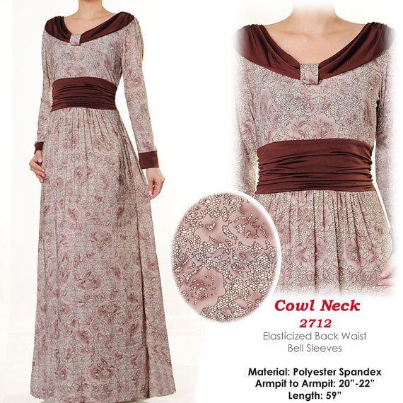 US$ 34 FREE SHIPPING WORLDWIDE Cowl Neck Ruched Waist Islamic Abaya Long Sleeve Maxi Dress by MissMode21