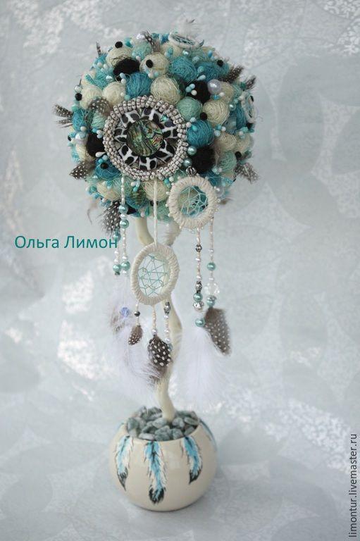 """Купить Топиарий """"Евоти Манзи""""! - голубой, индейский стиль, индейские мотивы, индейский, ловец снов"""