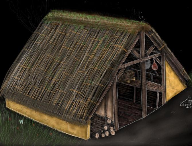 Reconstitution d'une cabane excavée à 6 poteaux.