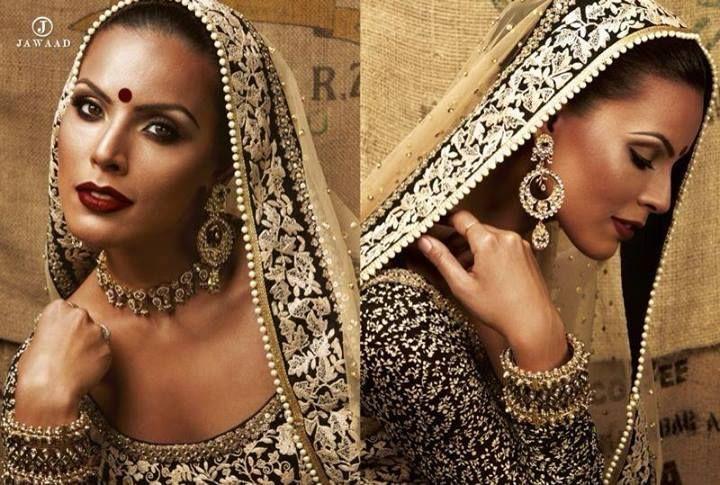 Sabyasachi Mukherjee - gold and black saree - dupatta - statement jewellery - Indian bridal make up - vintage bindi - gold embriodery #thecrimsonbride