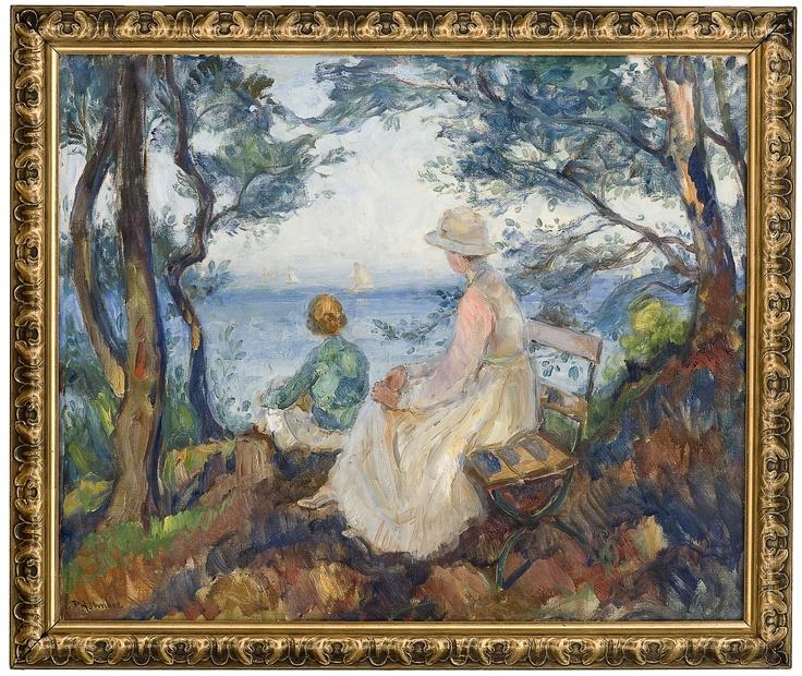 Thorolf Holmboe 1866-1935: Skjærgårdslandskap med to figurer