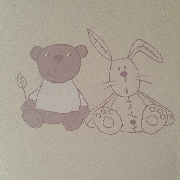 Millie and Boris Mamas and Papas characters in the little one bedroom. Hand painted on the wall.