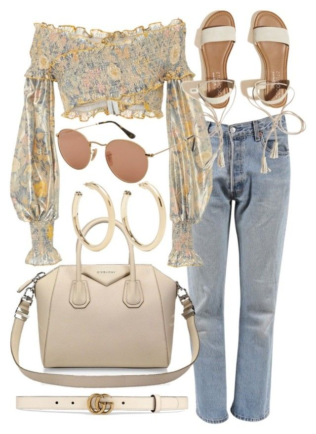 """Untitled #21735"" by florencia95 ❤ liked on Polyvore featuring Levi's, Alice McCall, Givenchy, Kenneth Jay Lane, Ray-Ban, Hollister Co. and Gucci"