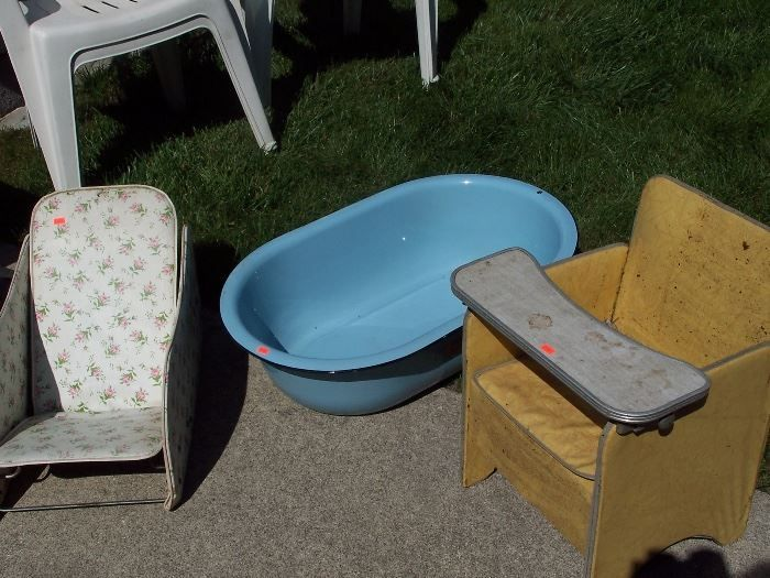 Found on EstateSales.NET: Vintage Baby Chairs and Enamel Bath Tub