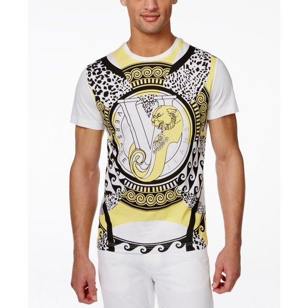 Versace Men's Black and Yellow Logo T-Shirt ($93) ❤ liked on Polyvore featuring men's fashion, men's clothing, men's shirts, men's t-shirts, white, mens white t shirts, mens t shirts, mens yellow shirt, versace mens t shirts and versace mens shirts