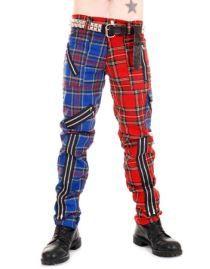 Pantalon punk rouge et bleu TIGER OF LONDON
