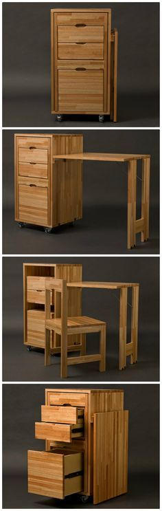 Cabinet with built-in chair and desk... or two of them together for a tiny kitchen.