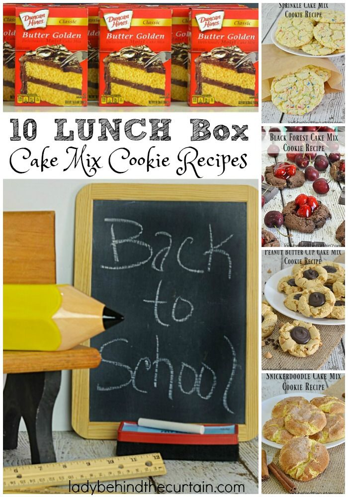 10 Lunch Box Cake Mix Cookie Recipes   Whether you're packing lunch for the kids, yourself or the hubs you are sure to find a cookie recipe everyone will love.