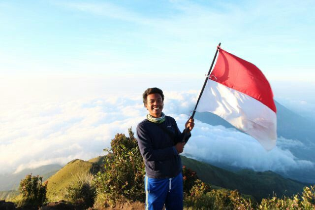 My beloved son's @merbabu peaks, the background is merapi mountain, Indonesia, May 29th, 2015