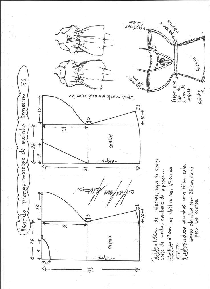 Esquema de modelagem de vestido de alcinha com manga morcego tamanho 36.