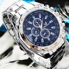 New Luxury Men's Stainless Steel Quartz Analog Wrist Watch Sport Watches Fashion