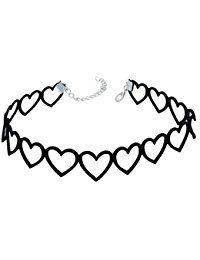 AnaZoz Joyería de Moda Collar de Mujer Collar Punk Gothic Choker Terciopelo Tatuaje Gargantilla Collar Corazón Negro Collar Para Mujer