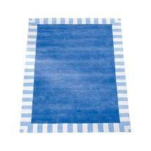 Cornflower Blue  Stripe Border Rug