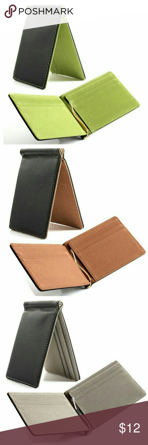 """Mony Clip Slim Wallet Features: Fashion, portable  Bullet Points: Mini size, Money clip  Condition: Brand new, casual style, portable  Material: PU  Style: Card Holder, Cash Holder  Size: 4.5"""" x 3""""     Package included: 1 x Card Holder Wallet none Bags Wallets"""