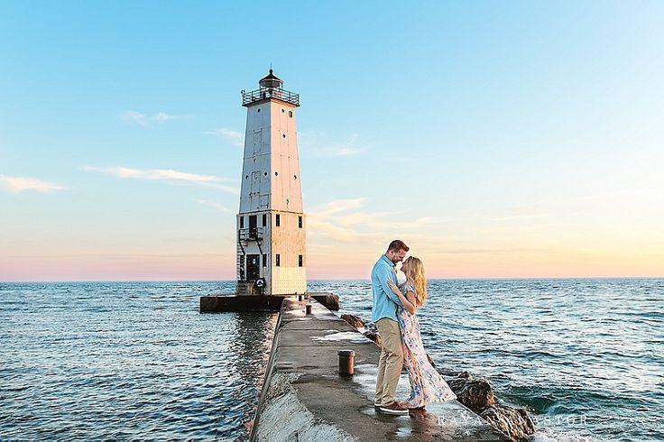 Sunset engagement on Lake Michigan | Rayan Anastor Photography | Frankfort MI Destination Wedding Photographer_0012
