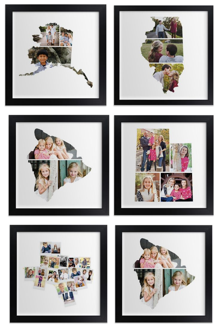 LOVE this gift idea for Mother's Day - photos are collaged into state outlines!