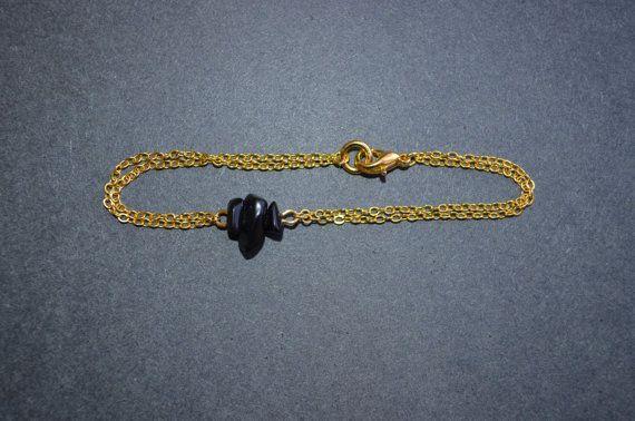 Obsidian Bracelet Dainty Gold Chain Bracelet by IndigoLizard