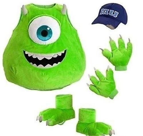 DISNEY MONSTERS INC UNIVERSITY MIKE WAZOWSKI COSTUME HAT GLOVES FEET XXS 2 3 #Disney