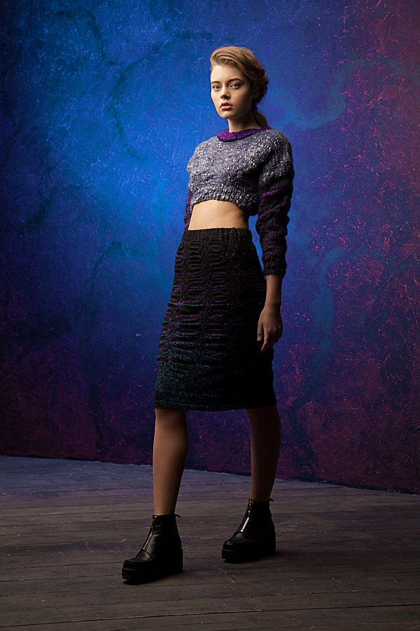 Lookbook fall-winter 2014-15. Wool cropped jumper - 260$ Knitted skirt - 200$ #25twentyfive25 #knitwear #jumper #skirt #black #grey #lurex #fashion