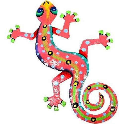 This gecko is handmade in Haiti from recycled oil drums. It has a small hook to hang the piece and is painted with a bright colorful design inspired by the local Haitian culture. From head to tail, th