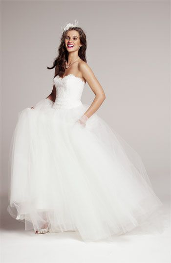 Theia Strapless Lace  Tulle Ballgown | #Nordstrom #weddings